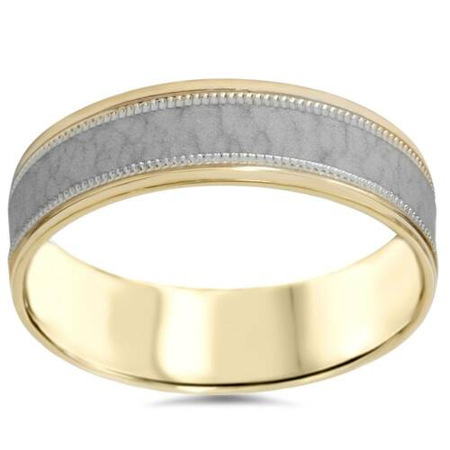 Hammered Two Tone Wedding Band 14K Gold 6mm Flat