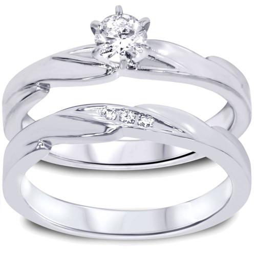 1/4ct Diamond Engagement Wedding Ring Set 10K White Gold (I/J, I2-I3)