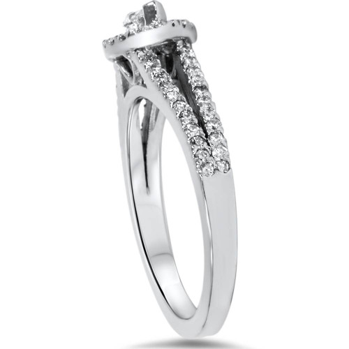 1ct Marquise Diamond Halo Split Shank Engagement Ring White Gold (G/H, I1-I2)