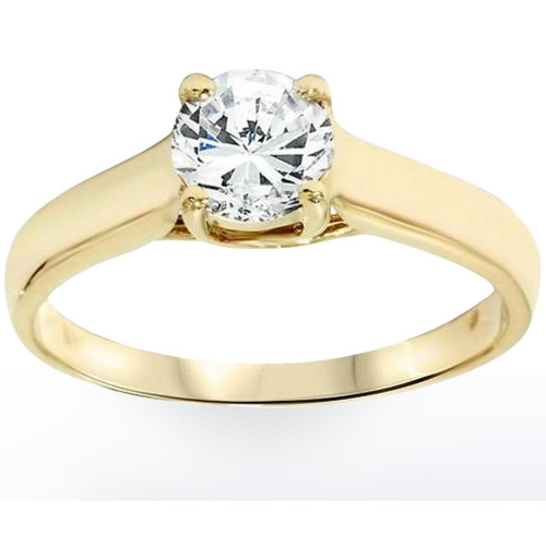 1ct Diamond Solitaire Engagement Ring 14K Yellow Gold (H-I, I1-I2)