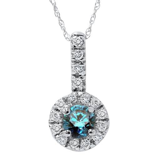 1/2ct Blue Diamond Solitaire Pendant 14K White Gold (G/H, I2)