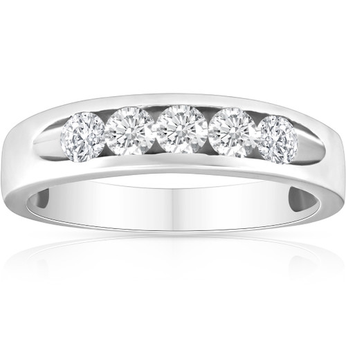 1/2ct Diamond Mens Wedding Ring Channel Set High Polished Band 14K White Gold (G/H, I1)