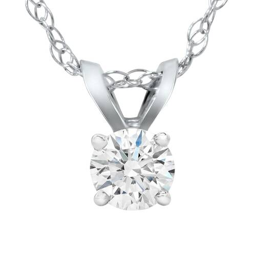 1/5ct Lab Grown Diamond Solitaire Pendant 14K White Gold (F, VS/SI)