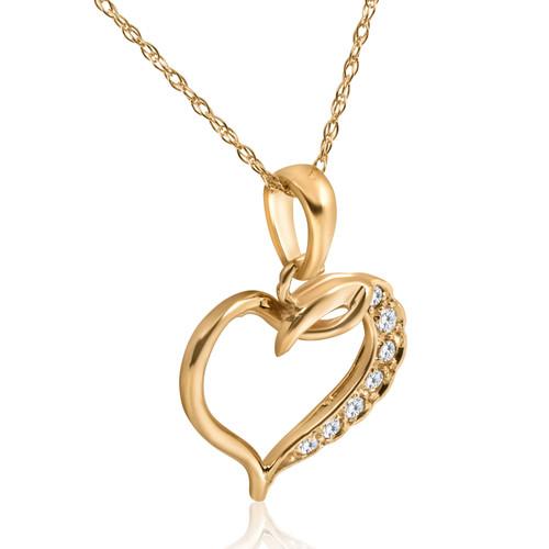 1/5ct Diamond Heart Pendant 14K Yellow Gold (G/H, I2)