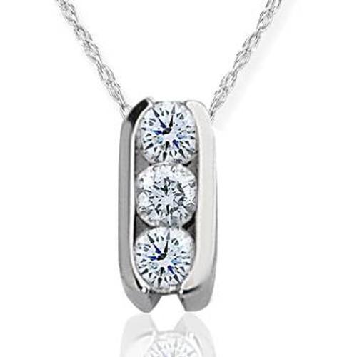 1/2ct Three Stone Diamond Pendant 14K White Gold (H, I2)
