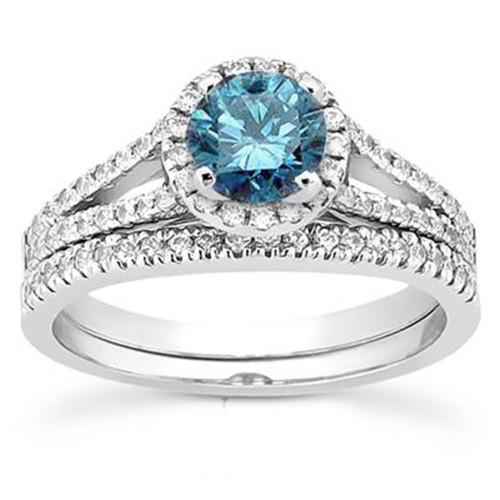 1ct Split Shank Blue Diamond Ring Set 14K White Gold (G/H, I1-I2)