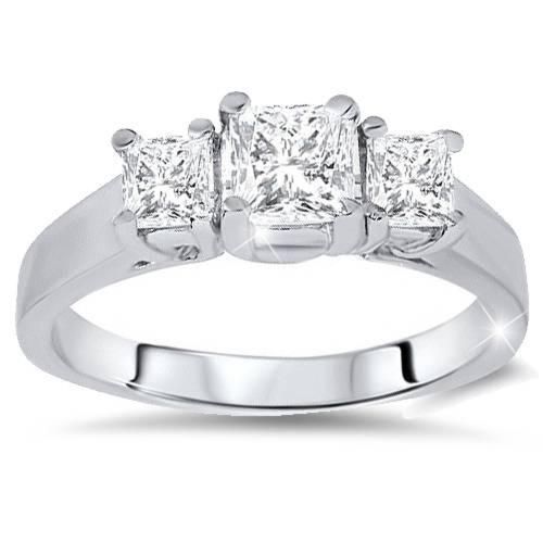 1ct Three Stone Princess Cut Diamond Engagement Ring 14K White Gold (H/I, I1)