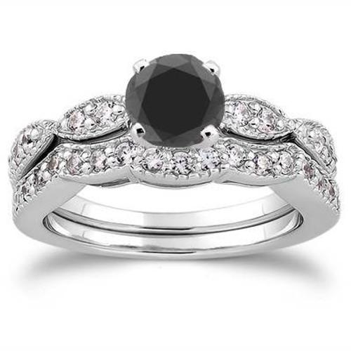 1 1/2ct Black & White Diamond Engagement Ring Set 14K White Gold (G/H, I1-I2)