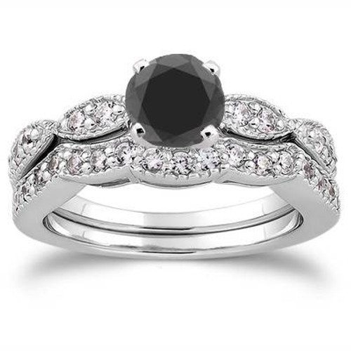 1 1/2ct Black & White Diamond Engagement Ring Set 14K White Gold (G/H, I1-I2)