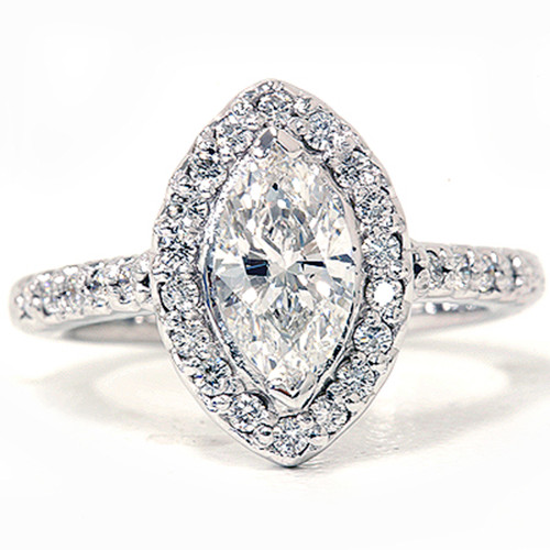 1 3/8ct Marquise Halo Diamond Ring 14K White Gold (G/H, I1)