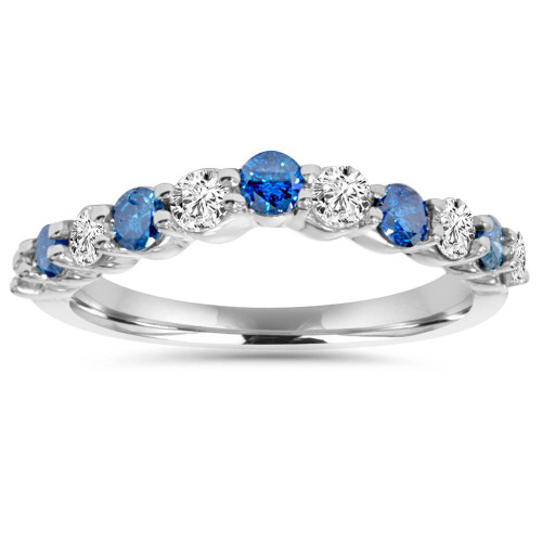 .85CT Blue & White Diamond Curved Wedding Ring 14K White Gold (H/I, I1-I2)