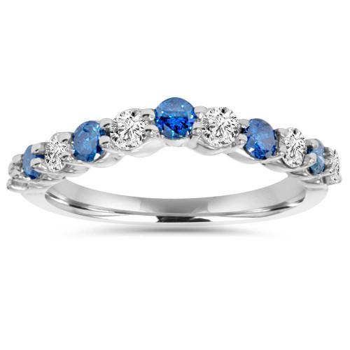 .85CT Blue & White Diamond Curved Wedding Ring 14K White Gold (H/I, I1-I2)