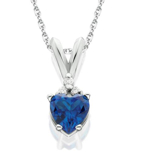 1/2ct Diamond & Simulated Blue Sapphire Heart Pendant 14K White Gold (G, I1)