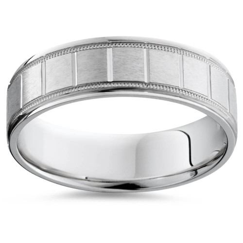 Mens 14K White Gold Brushed Comfort Wedding Band Ring