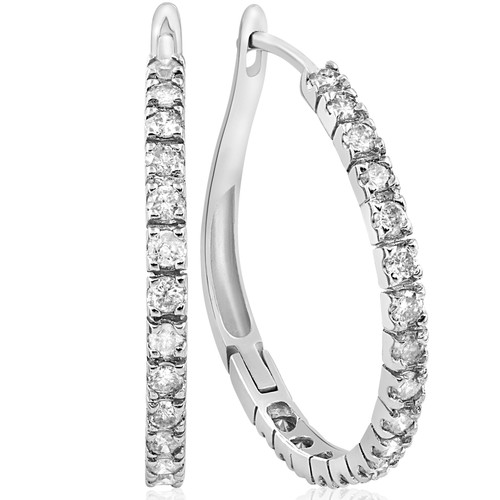 "1 Carat Diamond Hoops White Gold 3/4"" Tall (H-I, I2)"