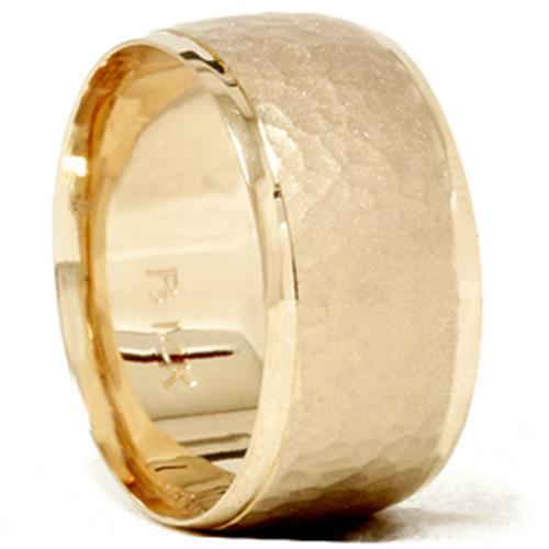 Hammered Beveled Wedding Band 14K Yellow Gold