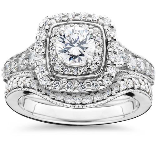 1 3/4ct Double Halo Vintage Style Engagement Wedding Ring Set 14K White Gold (G/H, I2)