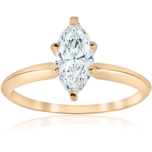 14k Yellow Gold 1ct Marquise Diamond Engagement Solitaire Ring (G/H, I1)