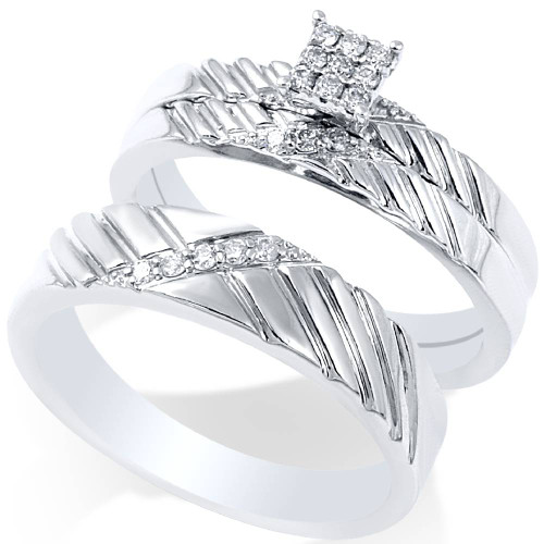 1/4ct Diamond Engagement Matching Wedding Ring Set 14K White Gold (G/H, I2-I3)