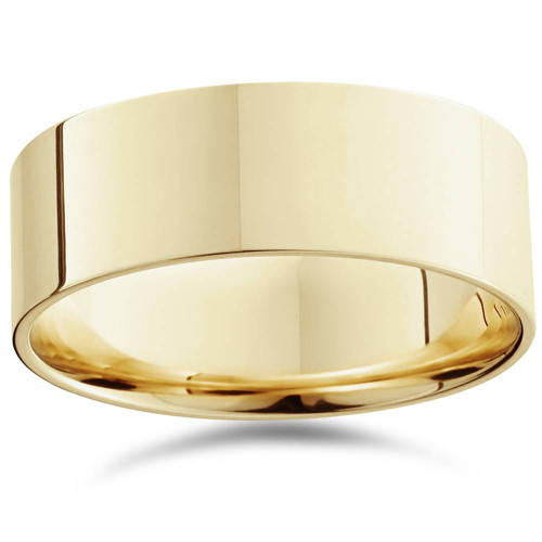 Mens 8mm 14K Yellow Gold Comfort Fit Flat Wedding Band