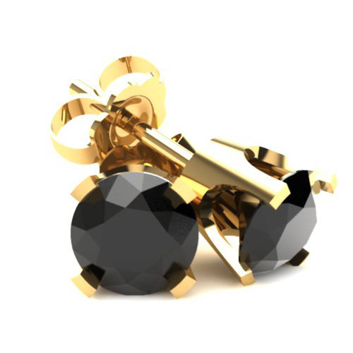 .75Ct Round Brilliant Cut Heat Treated Black Diamond Stud Earrings in 14K Gold Classic Setting (Black, AAA)