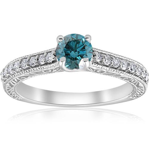 3/4ct Blue & White Diamond Vintage Engagement Ring 14K White Gold (G/H, I1-I2)
