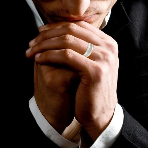 Mens 14K Black Gold 6mm Wedding Ring Band
