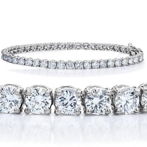 7 TCW 14k White Gold Diamond Round Cut Tennis Bracelet ((F), (VS2))
