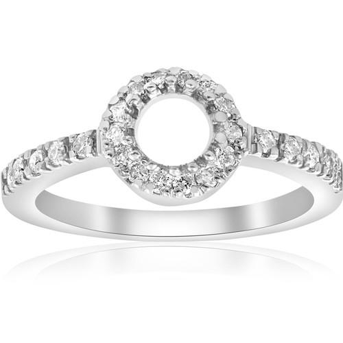 1/3ct Pave Halo 14K White Gold Diamond Engagement Setting Mount (G/H, I2)