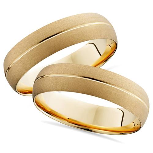 Gold Matching His Her Wedding Band Brushed Ring 14K Set