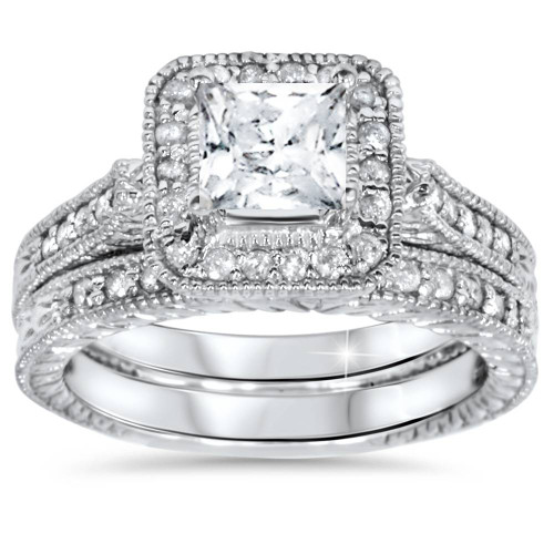 1 1/2ct Vintage Halo Princess Cut Enhanced Diamond Engagement Ring Set 14k Gold (I/J, I2-I3)