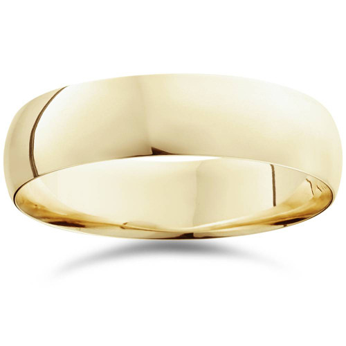 14K Yellow Gold High Polished Mens Wedding Band Ring Plain