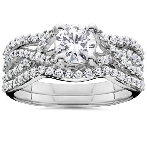 1.45CT Diamond Infintiy Trio Engagement Guard Ring Set 14K (H/I, I1-I2)