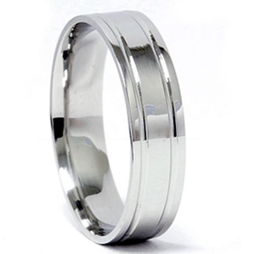 Double Inlay Wedding Band 950 Platinum