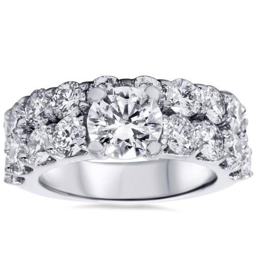 6ct Diamond Engagement Ring Set 14K White Gold (G/H, I1-I2)