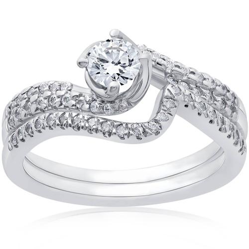 1ct Diamond Engagement Ring Set 14K White Gold (G/H, SI1-SI2)