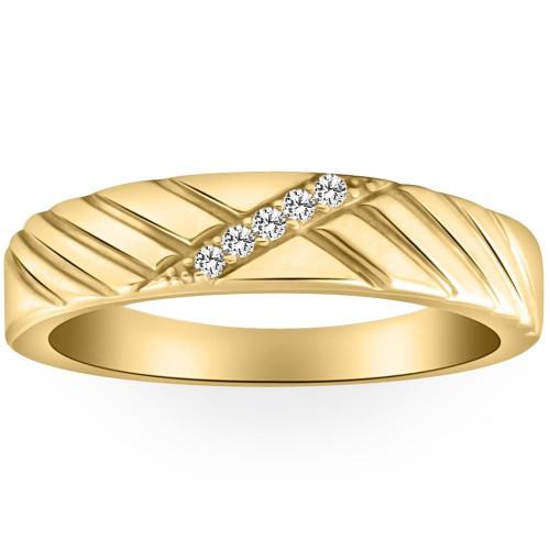 Mens Diamond Wedding Ring Yellow Gold (H/I, I2-I3)