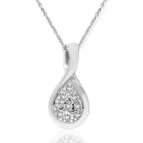 1/10ct Pave Tear Drop Solitaire Diamond Pendant 10K White Gold (G/H, I2)