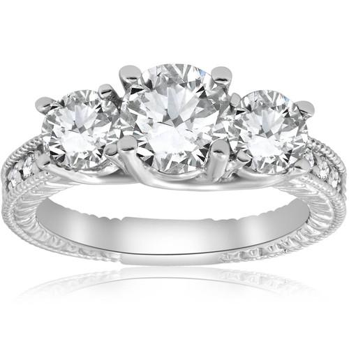 2 1/2ct Vintage Three Stone Diamond Engagement Ring 14K White Gold ((G-H), SI(1)-SI(2))