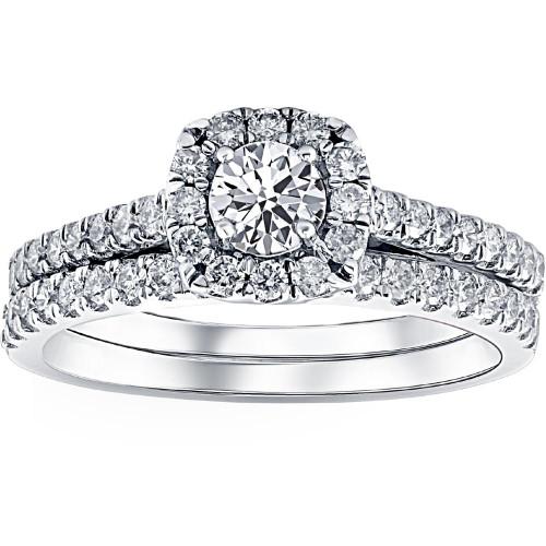 1ct Cushion Halo Diamond Engagement Wedding Ring Set 14K White Gold (J-K, I1-I2)