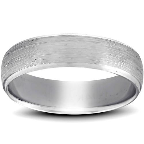Platinum Wedding Band Mens Brushed Beveled Ring 6mm Polished Edges