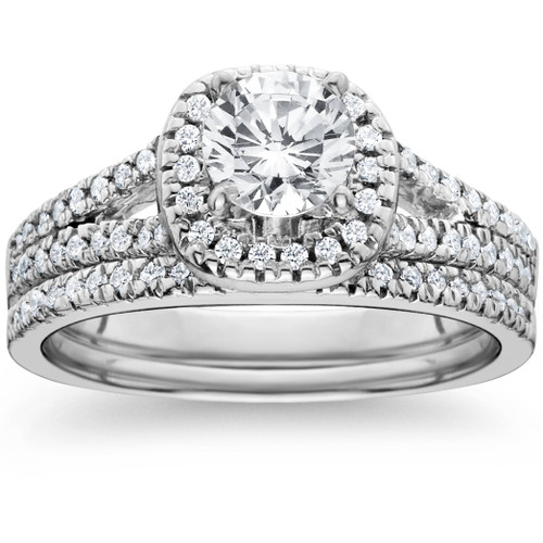 1ct Halo Diamond Engagement Ring Set Split Shank Bridal Wedding 14K White Gold (G/H, I1)