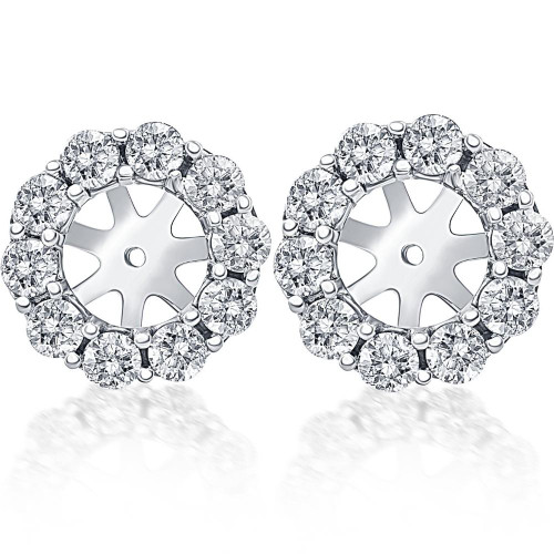 14K White Gold 1/2ct. Diamond Earring Jackets (up to 6mm) (G-H, I1)