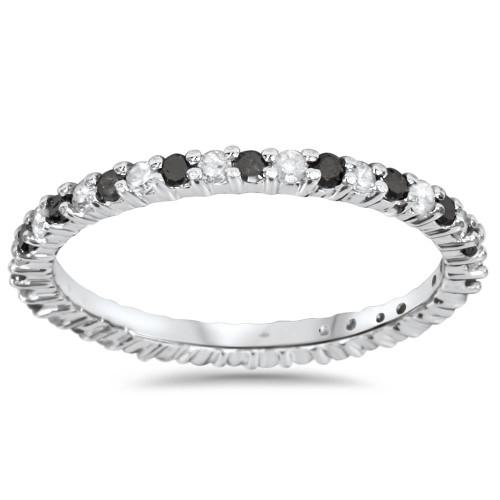 1/2ct Black & White Diamond Eternity Ring 14K White Gold (G/H, I2-I3)