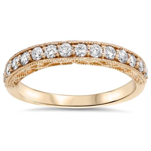 1/3ct Vintage Scroll Design Diamond Wedding Ring 14K Rose Gold (F, VS)