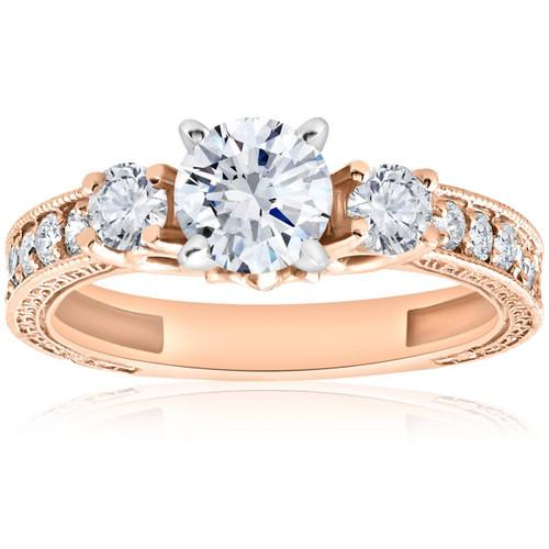 1ct Vintage Diamond 3 stone Engagememt Ring 14K Rose Gold (G/H, I1-I2)