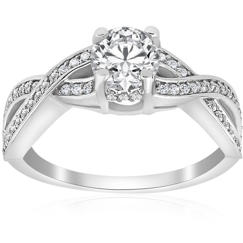 1 ct Diamond Infinity Twist Engagement Ring 1/2ct Center Stone 14K White Gold (G/H, I1)