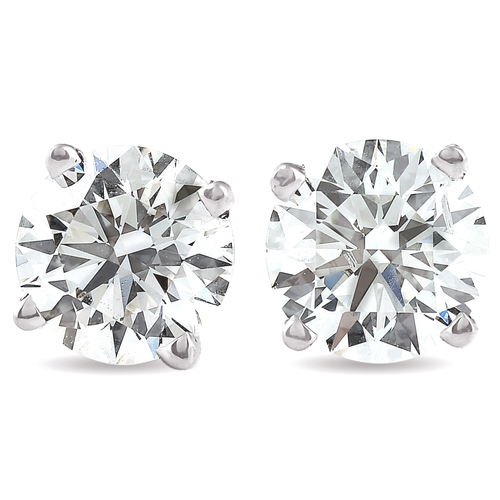 1.25Ct Round Brilliant Cut Natural Diamond Stud Earrings in 14K Gold Classic Setting (G/H, I2-I3)