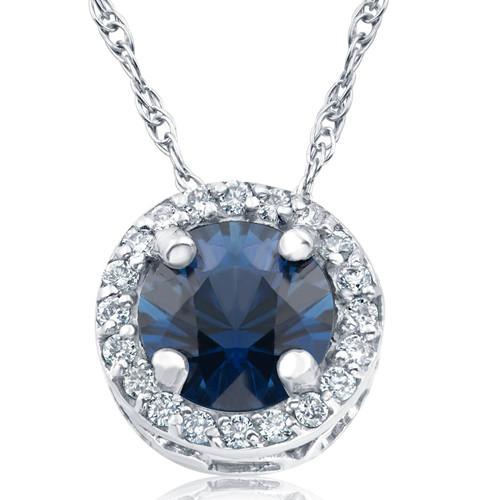 "1/2ct Blue Sapphire & Diamond Halo Vintage Pendant 14k White Gold & 18"" (H-I, I1-I2)"