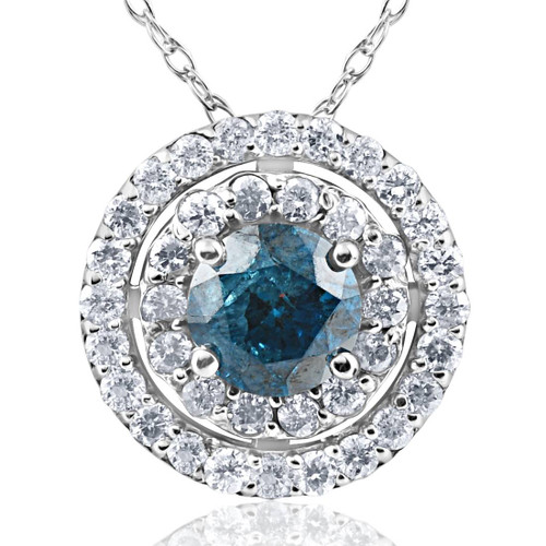 1 1/4ct Blue & White Diamond Double Halo Pendant 14K White Gold (H-I, I1-I2)